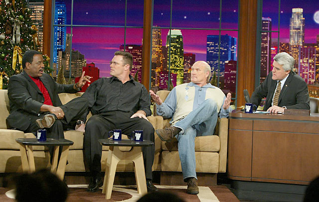 Fox  commentators Jim Brown, Howie Long and Terry Bradshaw talk football with Leno.