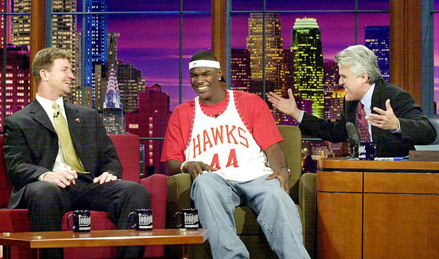 Brad Johnson and Keyshawn Johnson joke with Leno after leading Tampa Bay to a victory in Super Bowl XXXVII.