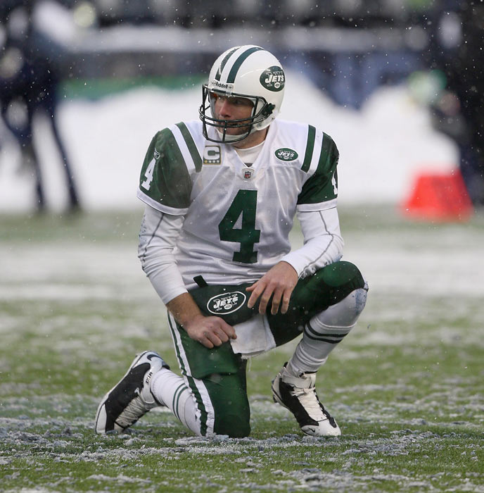 On Nov. 24 of Favre's only season in New York, the Jets were 8-3, including a win over undefeated Tennessee, and Favre was an MVP candidate. But then it all went downhill as Favre threw two touchdowns and nine interceptions in the final five games and led the Jets to only one victory in that span. The Jets missed out on the playoffs and the Favre era in New York came to an unsatisfying end.