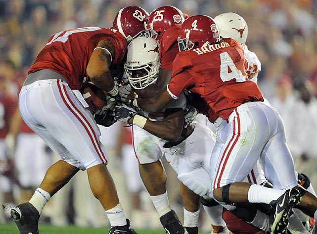 Alabama's defense kept the Longhorns ball carriers bottled up for much of the night.