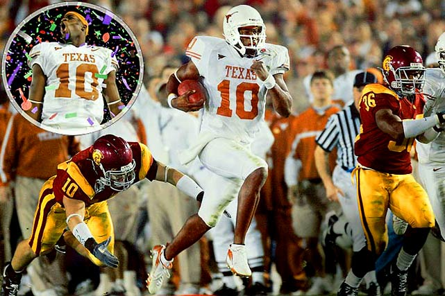 Quarterback Vince Young turned in the most dominant individual performance in college football history to lead Texas past USC in the 2005 BCS title.