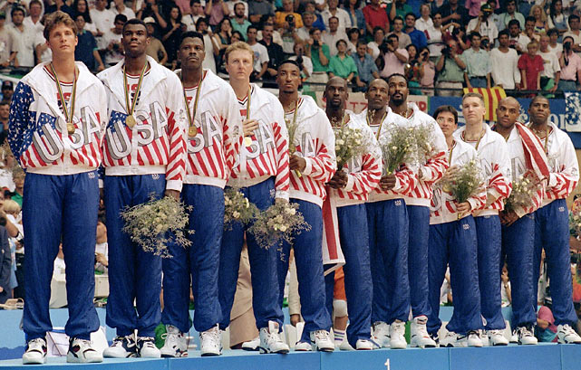 The Dream Team's  impressive line up takes the gold in 1992.