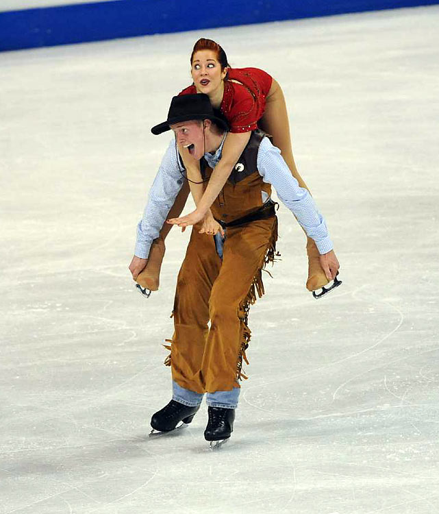 Samuelson and Bates compete during the ice dance original program routine at the U.S. Figure Skating Championships.