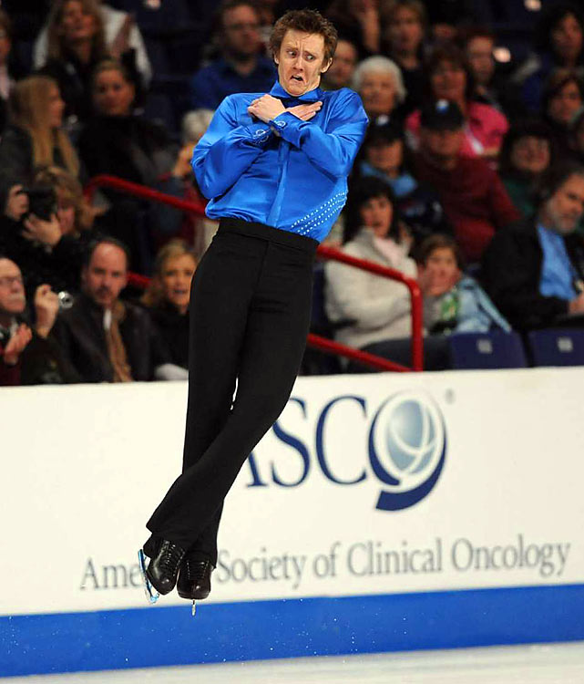 Abbott opened up his program with a quadruple toe loop jump, landing it more easily than some guys do triples, and also did a triple axel-triple toe combination.