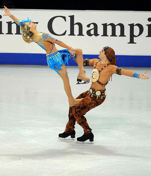 Navarro and Bommentre compete during the ice dance original program routine at the U.S. Figure Skating Championships.