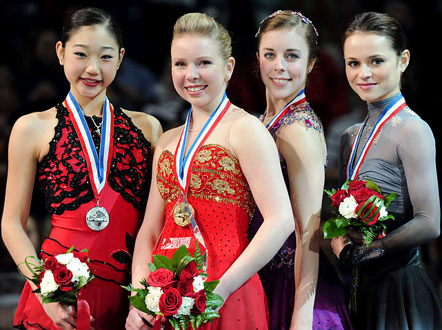 Rachel Flatt (second from left) and Mirai Nagasu (far left) finished first and second, respectively, at the U.S. Women's Figure Skating Championships. Ashley Wagner (third from left) and Sasha Cohen were third and fourth.