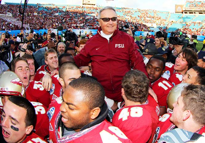 Bobby Bowden is carried off the field by his players after Florida State defeated West Virginia during the Konica Minolta Gator Bowl on Jan. 1 at Jacksonville Municipal Stadium. The 33-21 victory was Bowden's last game as head coach of the Seminoles.