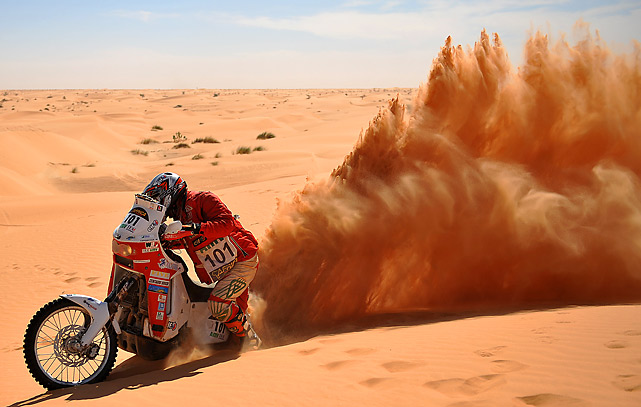 Italian Marco Capodacqua is stuck in the sand during the 7th stage Boulanouar - Tabenkrout, Mauritania, of the Africa Eco Race, on Jan. 6. The Africa Eco Race started on Dec. 30 in Nador, Morocco, and continues over 11 days and 6,000 kilometres through Mauritania to lac Rose in Senegal.