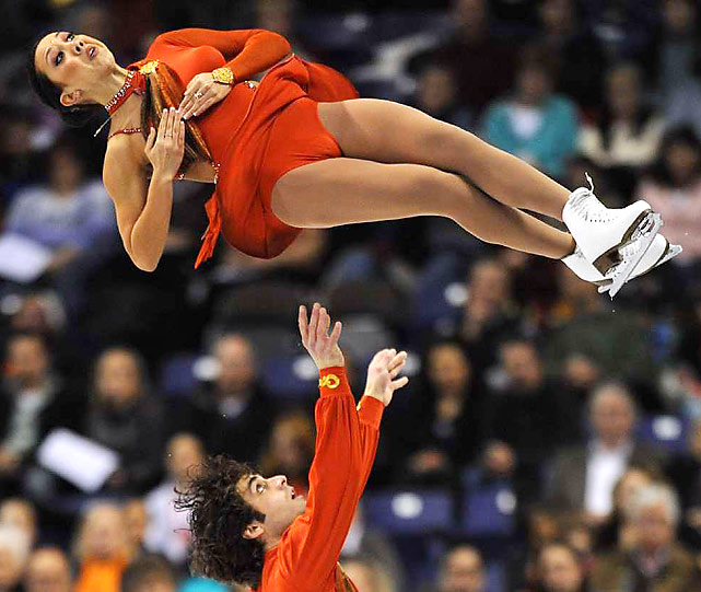Keauna McLaughlin (top) and Rockne Brubaker compete during the pairs free skate at the U.S. Figure Skating Championships in Spokane, Wash., on Jan. 16. The two-time national pairs champions finished in 7th place.