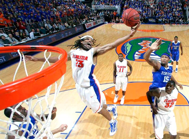 Florida Gators forward Alex Tyus grabs a rebound against the Kentucky Wildcats at the Stephen C. O'Connell Center in Gainesville on Jan. 12. Tyus had 17 points in the 89-77 loss.