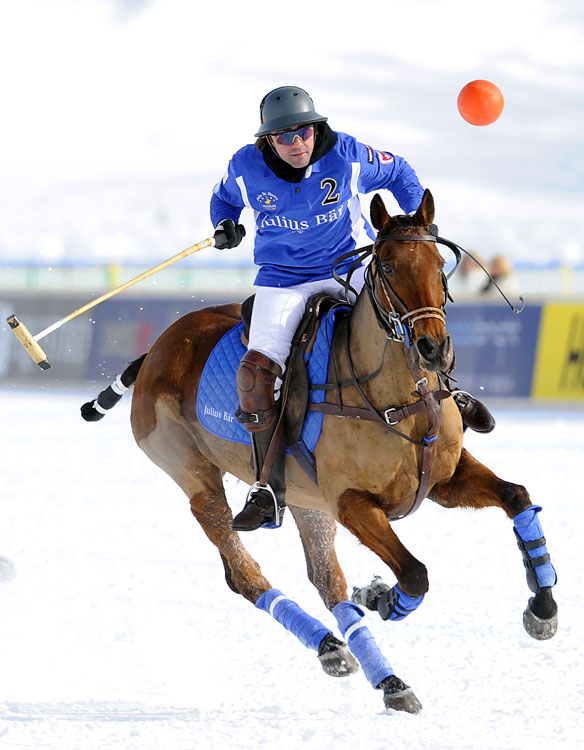 Jose Donoso from team Julius Bär  is in action against team Maserati during their match in the Polo World Cup On Snow on Jan. 29 in Saint Moritz, Switzerland. The tournament is played on a frozen lake. Julius Bär  defeated Maserati 5-4.