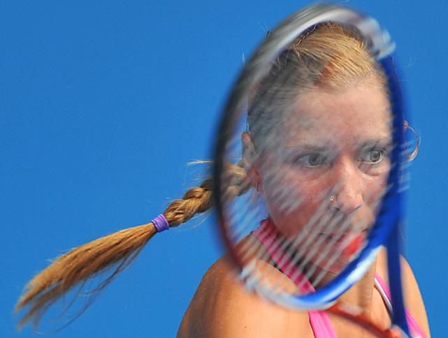 Alona Bondarenko plays a forehand against Jelena Jankovic in their third-round match at the Australian Open on Jan. 22. Bondarenko knocked off the eighth-seeded Jankovic 6-2, 6-3.
