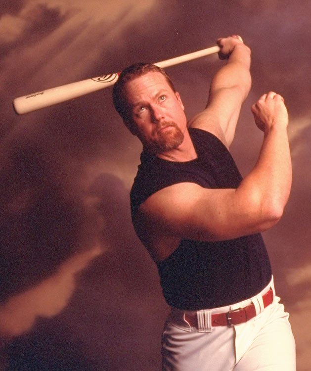 McGwire shows off his home-run hitting stroke.
