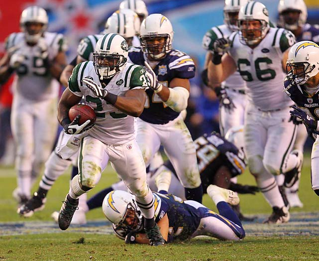 Shonn Greene had his second 100-yard rushing performance in these playoffs, running for 128 and the go-ahead touchdown against the Chargers.