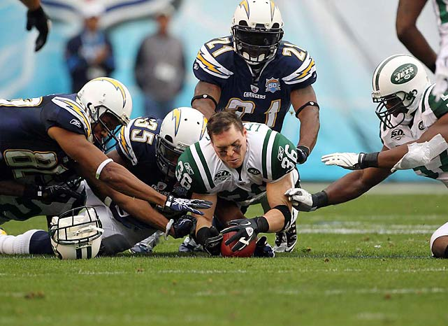 Jim Leonhard lost his helmet while making a ball-jarring tackle but kept his wits about him long enough to recover the loose ball.