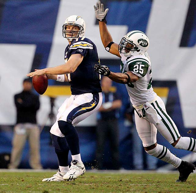 Philip Rivers completed 27 of 40 passes for 298 yards and one touchdown, but was undone by a Jets defense that came up with two interceptions in the second half.