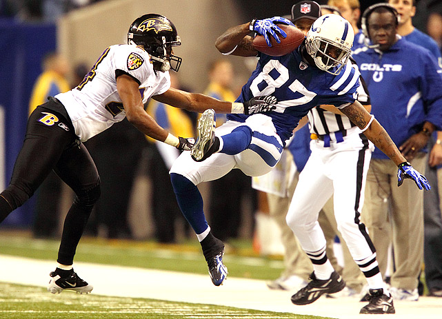 Reggie Wayne (87) had 63 receiving yards and scored once as Indy set up a home date for the AFC championship against the New York Jets.