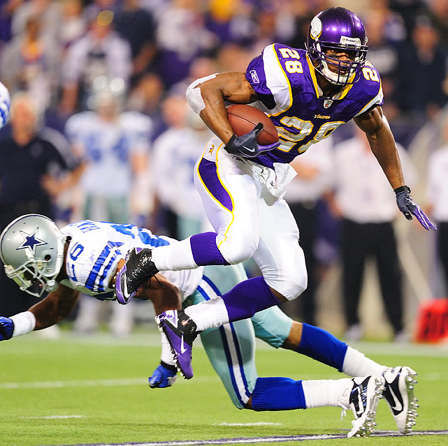 Adrian Peterson carried the ball 26 times for 63 yards and caught one pass for a 19-yard gain.