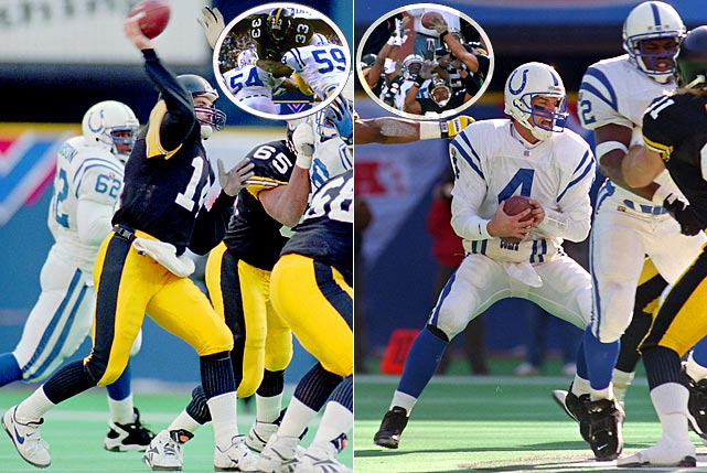 An interminably long wait between Super Bowl appearances finally ended. When you think of Steelers greatness under center, you don't think Neil O'Donnell first. When you think of Colts great quarterbacking, likewise Jim Harbaugh doesn't pop into mind. But they led their teams to a back-and-forth thriller that ended with a Bam Morris touchdown (left inset) after a last-minute drive and an oh-so-close last-second Hail Mary pass bouncing off Colts receiver Aaron Bailey's chest in the end zone (right inset).