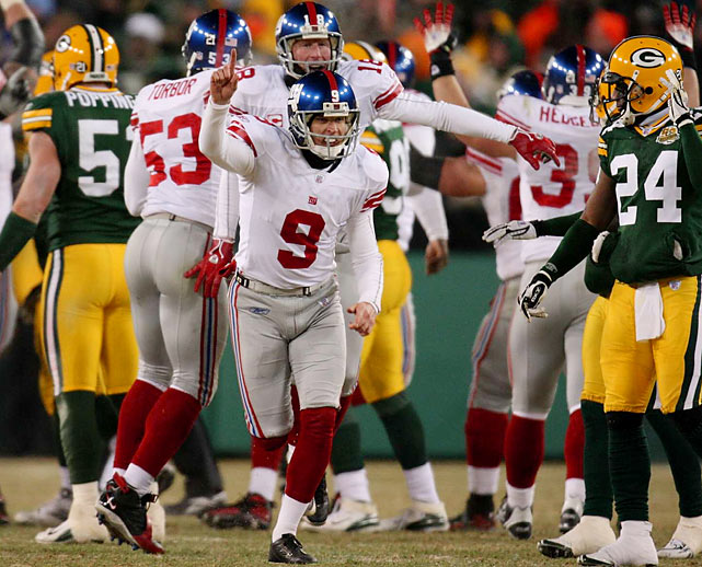 Some athletes wait a lifetime for redemption and it never comes. The Giants -- and specifically kicker Lawernce Tynes -- had to wait just 2:35 of clock time. On the bitterly cold afternoon of football dubbed Ice Bowl 2, Tynes froze in more ways than one on the final play of regulation. He missed a 36-yard potential game-winner wide left. In overtime, however, the gunslinging ways of Brett Favre backfired, as he threw an ill-advised pass that was intercepted by New York's Corey Webster. Moments later, Tynes connected on a 47-yarder that sent the Giants to Glendale, Ariz., to face the New England Patriots and, ultimately, the Super Bowl title.