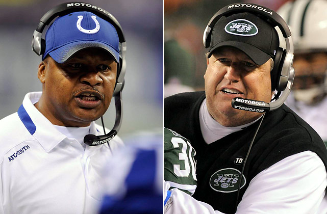 One is a booming belltower of a personality. The other as quiet as a church mouse. One acts completely understated and professorial. The other is like a fraternity pledge. The contrasting styles of Ryan and Caldwell, however, run far deeper than what you see and hear. This game will be won with key decisions, Xs vs. Os and game-planning. Don't buy into the whole Week 16 angle regarding resting players, Colts folding, etc. That's what people are talking about, but not what will decide the outcome. The Super Bowl berth will hinge on how Caldwell prepares and adjusts his offense to Ryan's defense, and vice versa.