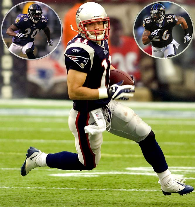 Yes, Julian Edelman. With Wes Welker out for the year, the Ravens' secondary clearly will shift focus toward finding a way to stop Randy Moss. Safeties will cheat toward Moss' side of the field. Cornerbacks will press-cover Moss, knowing they have help deep and over the middle. Welker's replacement, the shifty and deceptively fast Edelman, will have to produce in his first moment on the big-time stage.