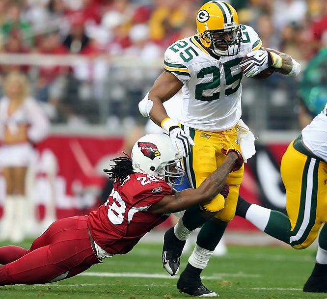 If it's possible for a player on one of the league's flagship teams to have a quiet 1,200-yard season rushing, Grant did it. Between Aaron Rodgers' terrific season and Dom Capers crafting a monstrous defense, Grant slipped between the cracks. He also slipped a lot of tackles and could be THE key to a Packers Super Bowl push. If the banged-up Cards cannot stop Grant on first-down, consider it advantage Packers.