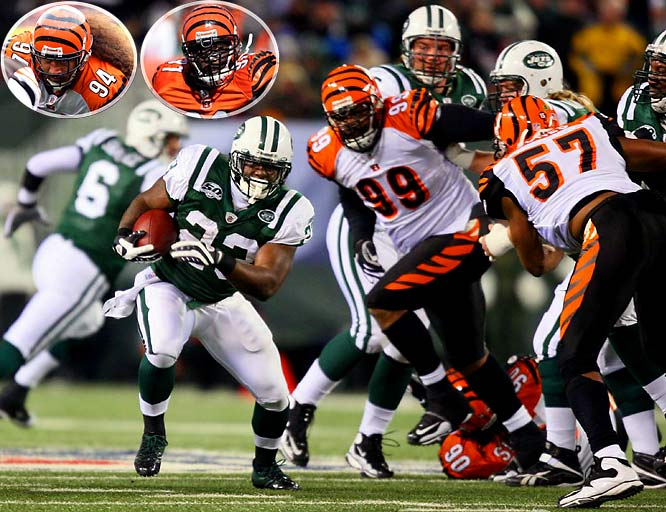 This is perhaps the greatest unknown going into the Bengals-Jets rematch. Could being without linebacker Rey Maualuga and defensive linemen Domata Peko (94) and Robert Geathers (91) have been that big in the Jets' dominating season finale?  The Jets had their way all night long, stripping the Bengals front-seven of everything but their jockstraps. Peko and Geathers should be back Saturday, but Maualuga is out. And the experienced, nasty, confident Jets front-five clearly are inside the Bengals' collective heads.