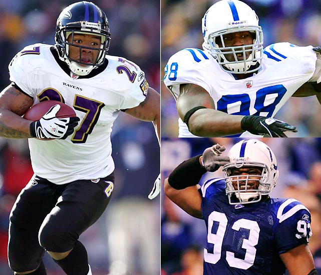 The Colts are going to come after Joe Flacco with their noted pass rush, of course. But technique and staying at home will be at a premium. The Ravens' passing game is more a rumor than a threat. While stopping the run isn't what Freeney (93) and Mathis (88) do best, that's what makes this an intriguing game within the game. The Colts ends are all about sacks. But Rice (27) is terrific at exploiting ends caught out of position.