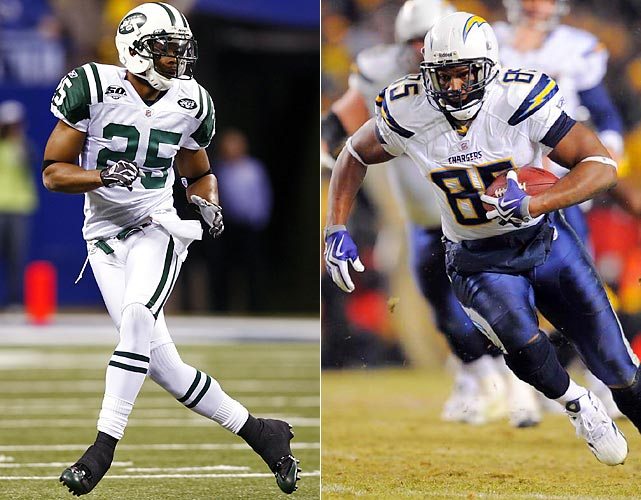 Darrelle Revis covers everything and anyone thrown his way. From blanketing Andre Johnson to making change of Ocho Cinco in successive weeks, Revis is the league's best shutdown corner. So what opens up, then, for Chargers QB Phillip Rivers? Probably the best tight end in the game, Antonio Gates. Rhodes has had his share of success. If he stops Gates, Jets win. Simple as that.