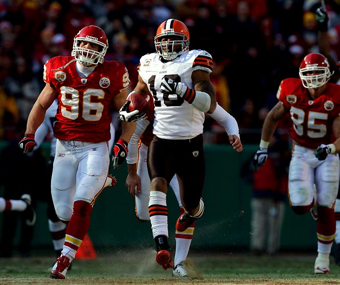 With his second kickoff return for a touchdown against the Kansas City Chiefs on Dec. 20, Joshua Cribbs became the first player in league history to have eight scoring returns in a career. He and Miami's Ted Ginn Jr. became the only players in league history with two 100-plus-yard kickoff returns in the same game. Ginn pulled off the feat in Week 8 against the Jets.