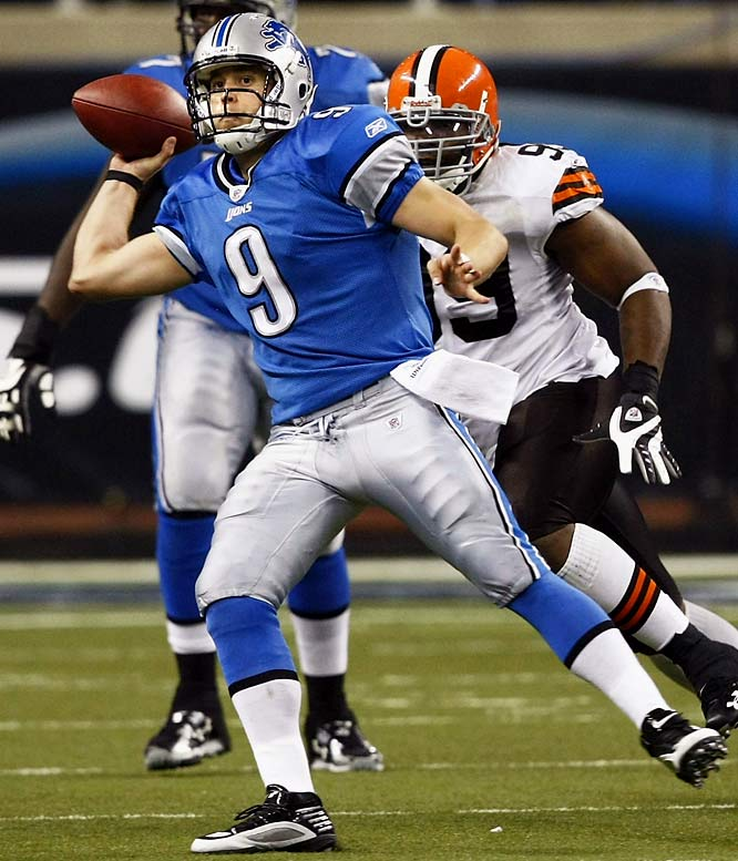 The Detroit quarterback set an NFL rookie record by throwing for 422 yards and five touchdowns in a 38-37 victory against Cleveland on Nov. 22. His final TD of the game came on an untimed play at the end of regulation when he re-entered the game against doctor's orders.