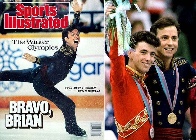 The Battle of the Brians -- Boitano vs. friend and rival Brian Orser of Canada -- produced the greatest figure skating exhibition in Olympic history. With Orser leading after the short program, Boitano skated the performance of his life, becoming the first American skater to land a triple axel. Orser was equally impressive, but his two-footed landing off a triple flip jump and downgrade from a triple axel to a double gave the judges reason to narrowly award the gold to Boitano on technical merit.