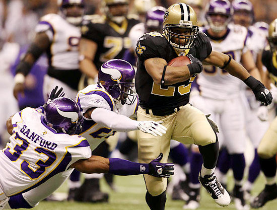 Pierre Thomas rushed 14 times for 61 yards and a score. He also had a key leap over the line on fourth-and-one in overtime to help set up the winning field goal.