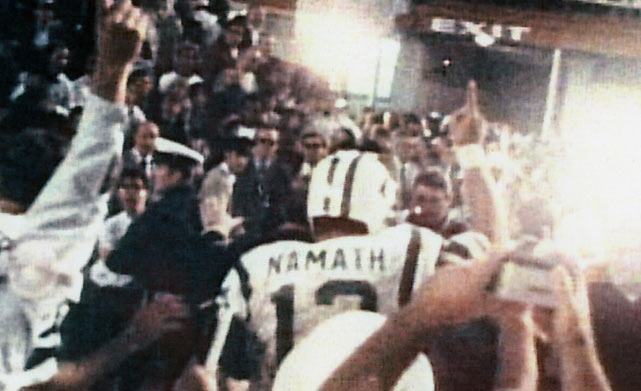Days after guaranteeing a Jets victory, Namath ran off the field with his finger held high, letting the world know that his team is No. 1.