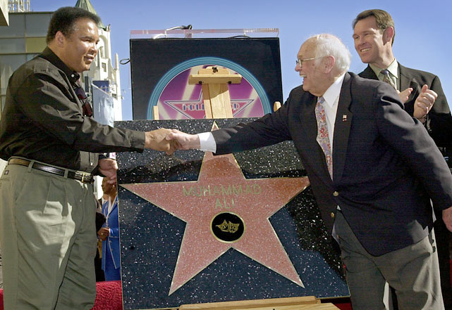 Muhammad Ali receives his star on the Hollywood Walk of Fame.