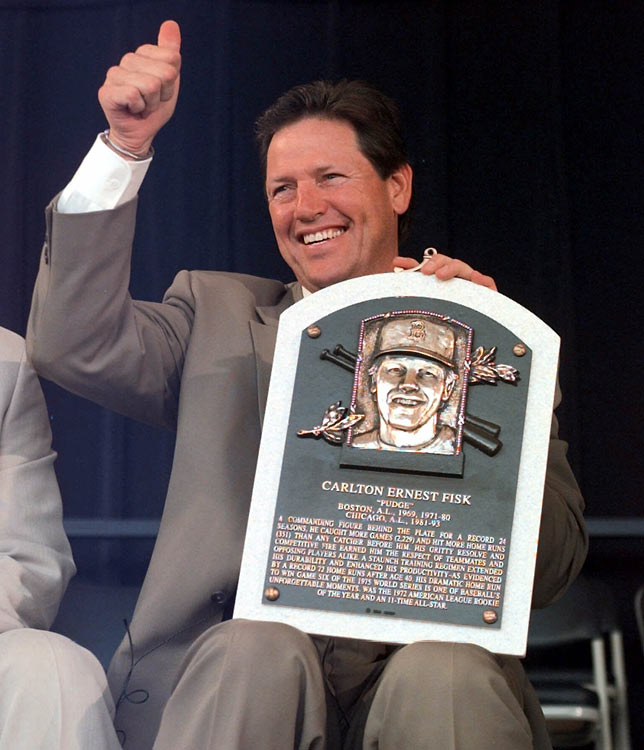 Carlton Fisk, in his second year of eligibility, and Tony Perez, on his ninth try, are elected to the Baseball Hall of Fame.