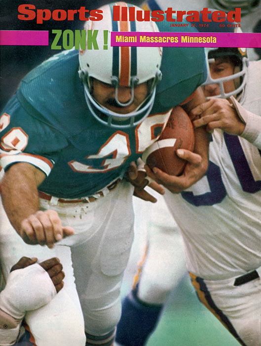 Miami beats Minnesota 24-7 in Super Bowl VIII behind fullback Larry Csonka's 145 yards rushing to claim their second straight championship.