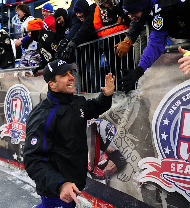 The second-year head coach had no qualms about celebrating the Ravens' landmark victory -- which also served as the Patriots' first home playoff loss in 31 years.