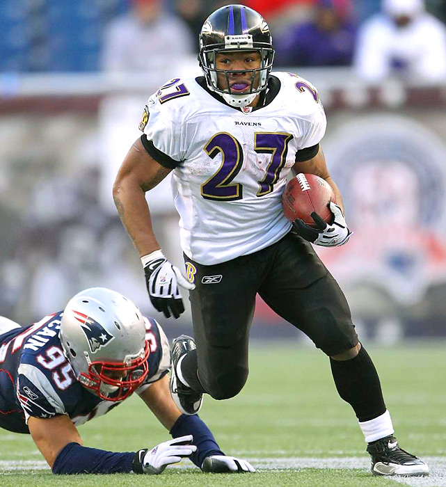 The Ravens tailback devastated the Patriots defense early and often, racking up 159 rushing yards and two TDs in Baltimore's decisive 33-14 win -- including an 83-yard scamper/score on the game's first play.