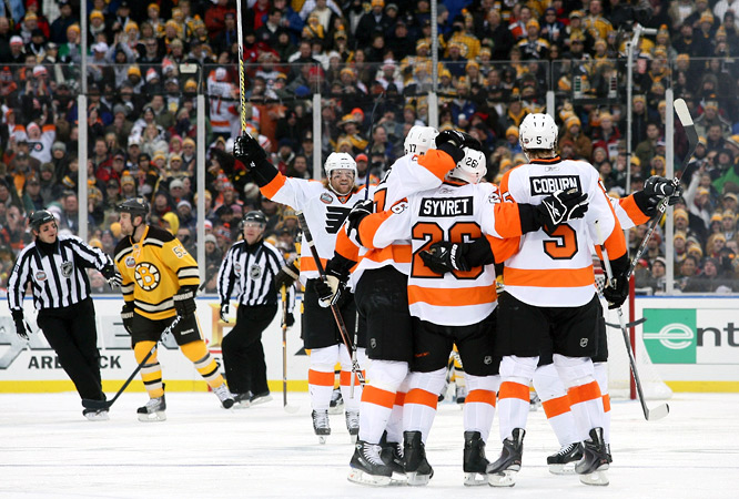 Danny Syvret gave the Flyers a 1-0 lead at 4:42 of the second period with the first goal of his career.