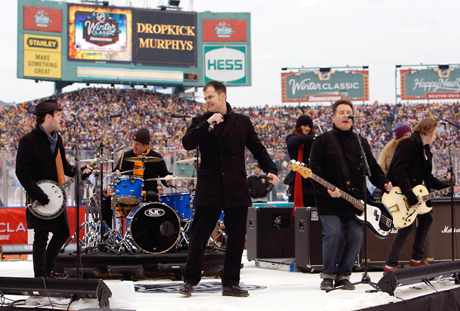 "The Dropkick Murphys, a Boston punk band, performed live in center field before the game, playing ""Shipping Up To Boston,"" a song usually heard at Fenway when Red Sox closer Jonathan Papelbon enters a game."