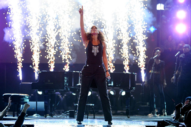 And R&B singer Alicia Keys ended the halftime show with a backdrop of pyrotechnics.