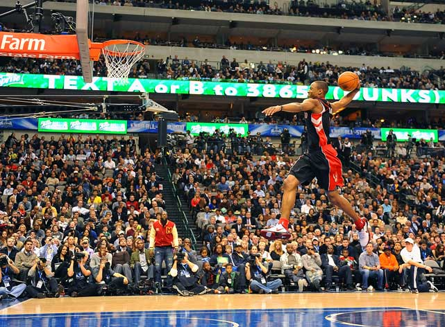 In addition to Robinson's trifecta, DeRozan gave the NBA another first: the first Dunk-In winner. He beat out the Clippers' Eric Gordon in the inaugural Slam Dunk-In Contest on Friday to earn a spot in Saturday's contest.