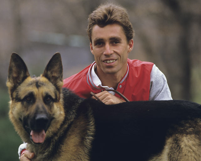 Ivan Lendl is photographed at his mansion in Greenwich, Conn., with his German Shepherd Viky