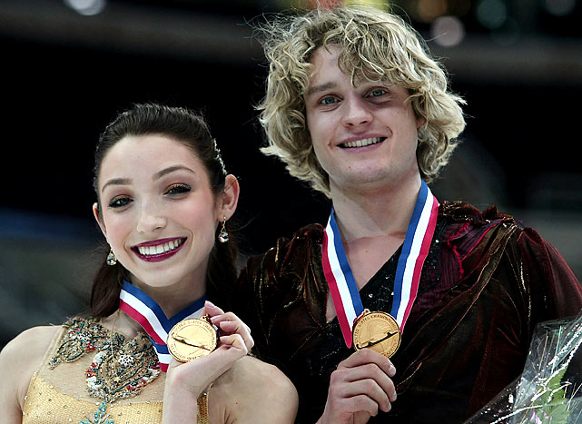 Meryl Davis and Charlie White with their gold medals after the free dance during the U.S. Figure Skating Championships in January.