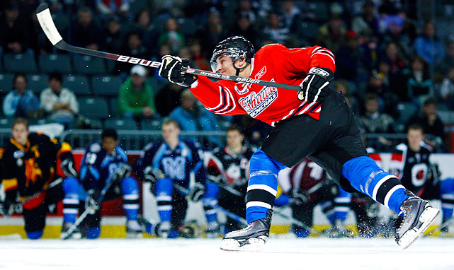 Eastern Conference All-Star and Oshawa General Tony DeHart competes in the hardest shot competition during the 2010 OHL All-Star Classic Skills Competition in Kingston, Ontario, on Feb. 2.