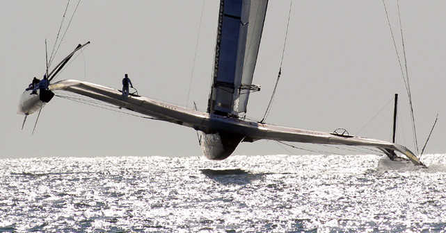 U.S. challenger Oracle sails before the start of the opening race of the 33rd America's Cup off Valencia's coast in Spain on Feb. 12. Oracle defeated Swiss champion Alinghi to win the Amerca's Cup.