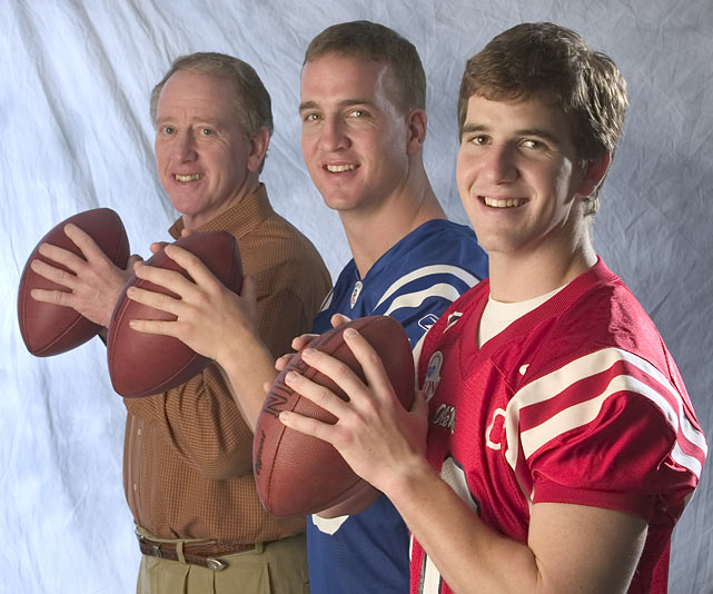Archie, Peyton and Eli show how to properly grip a football.