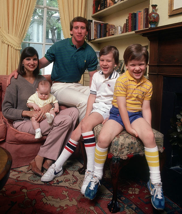 The Mannings (left to right): Olivia, Eli, Archie, Peyton and Cooper pose for a family photo.
